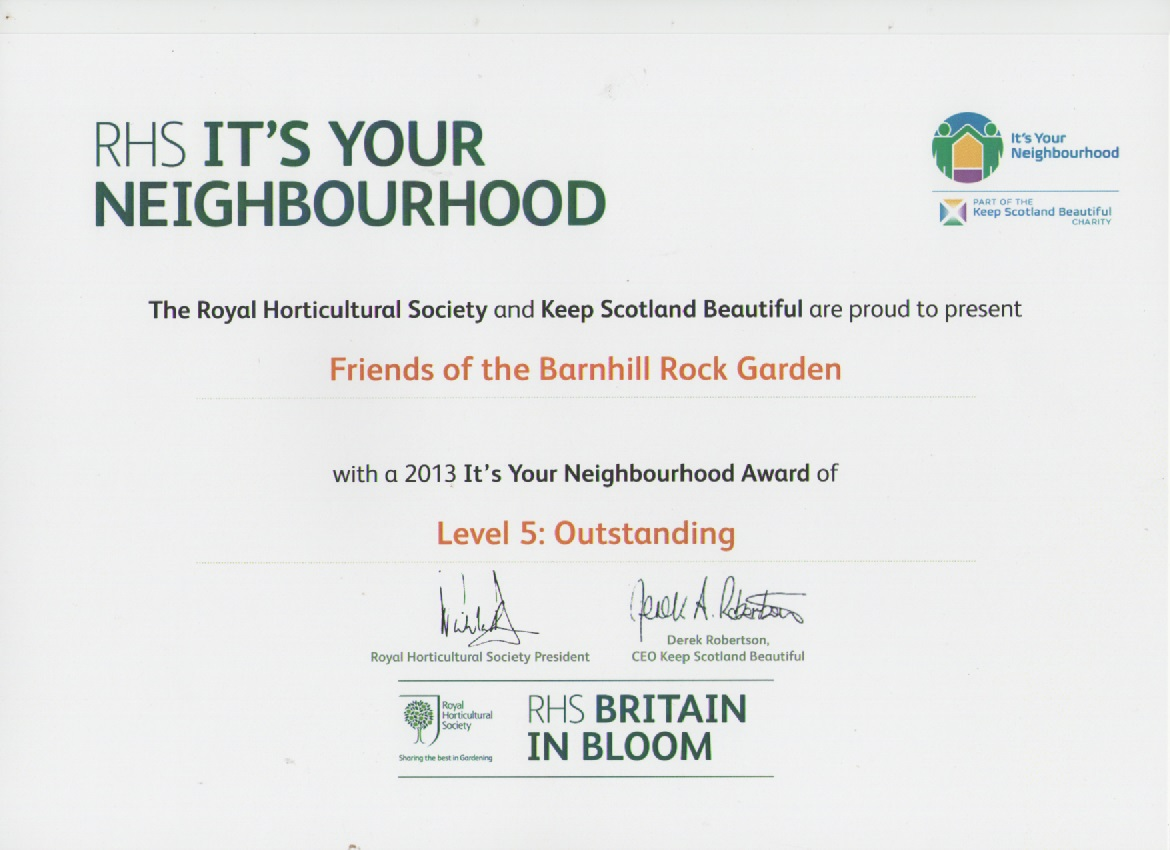 It's Your Neighbourhood Outstanding certificate 2013