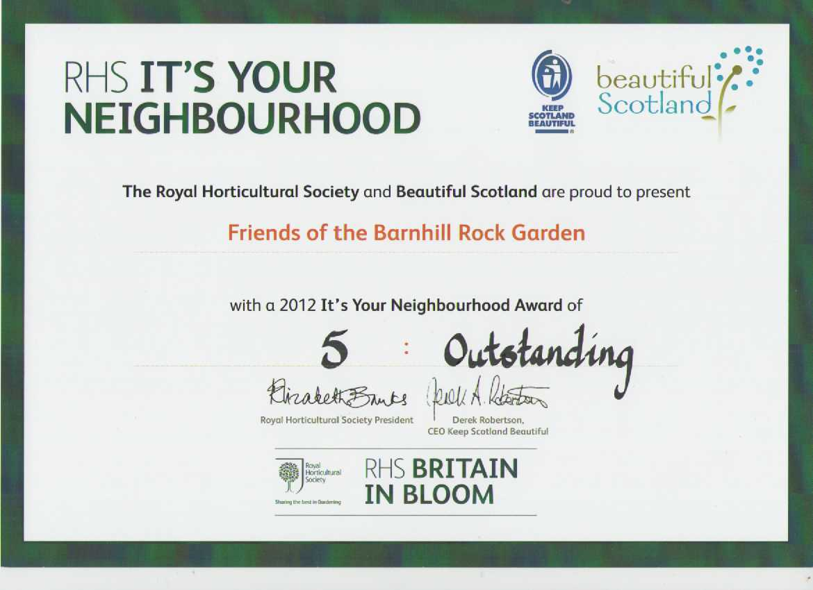 It's Your Neighbourhood Outstanding certificate 2012